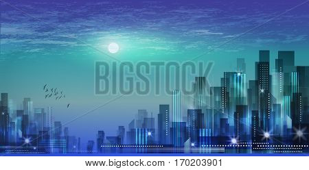 Modern Night City Skyline In Moonlight Or Sunset, With Cloudy Sk