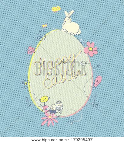 Vector Happy Easter ornamental illustration. Cute rabbit with yellow chick, flowers and egg.