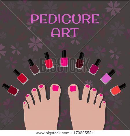 Pedicure art. Image toes and colorful nail polish