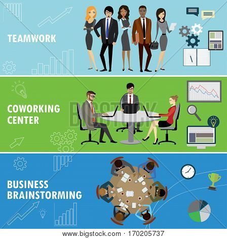 Set business banner. Teamwork, coworking and group brainstorming. Business people in different situations.Vector illustration.