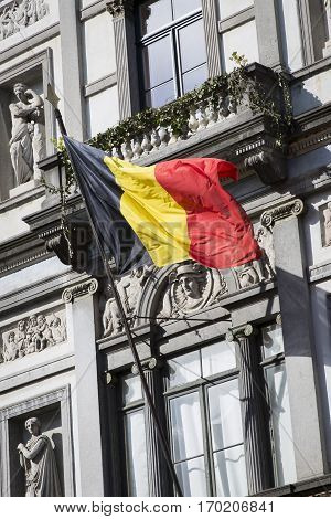 Belgian Flag on Galerie Royales Saint Hubert in coomemoration of the victims of the terror attacks