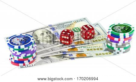 U.S. dollars dice and chips game isolated on white background