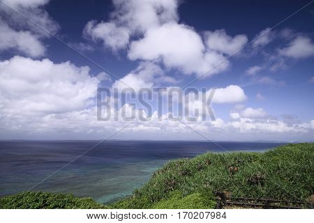 A view from the observation stand of Funagisaginavanata at Irabujima Okinawa Prefecture.