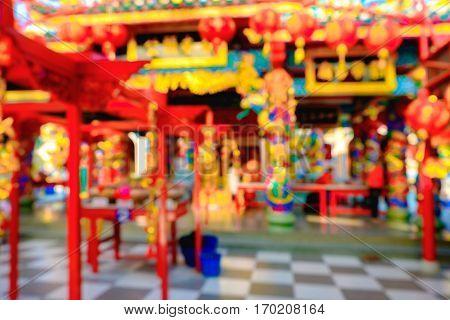 Blurred Red Chinese Joss House Background. Traditional Architecture.