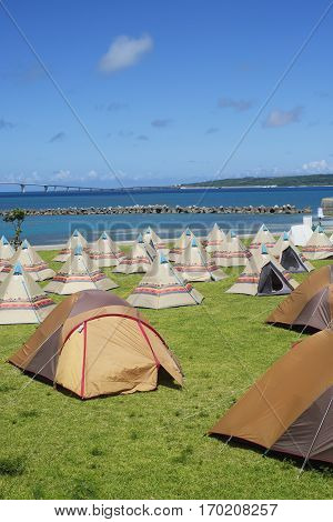 Campsite along the beach in Miyakojima Okinawa Prefecture. poster
