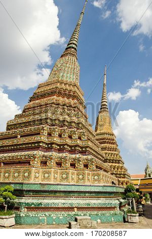 Stupas or chedies are one of the important parts of buddhist temples. Usually decorated by golden foil and another ornamentations they usually contain the remains of buddhist monks