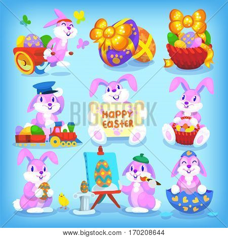 Set of playful easter rabbits with seamless pattern as backgroung