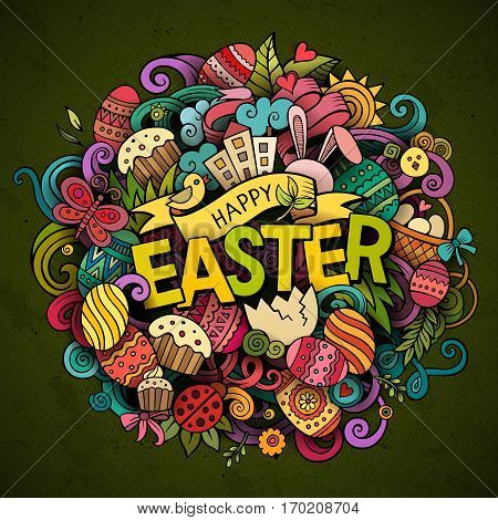 Cartoon vector hand drawn Doodle Happy Easter illustration. Colorful detailed background with objects and symbols. All objects are separated