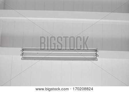 Fluorescent Lamp Hang On White Ceiling Concrete, .