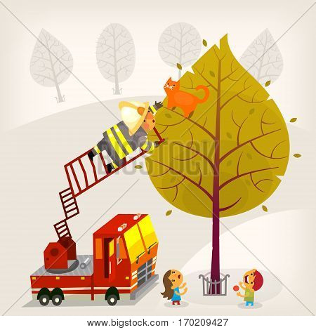 Illustration with a fireman climbing up the firetruck ladder to save a ginger cat from a high tree. A boy and a girl are eating candies and looking up at the process. Vector illustration