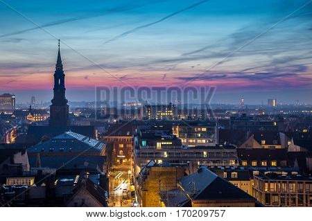 Cityscape of copenhagen downtown in the bluehour