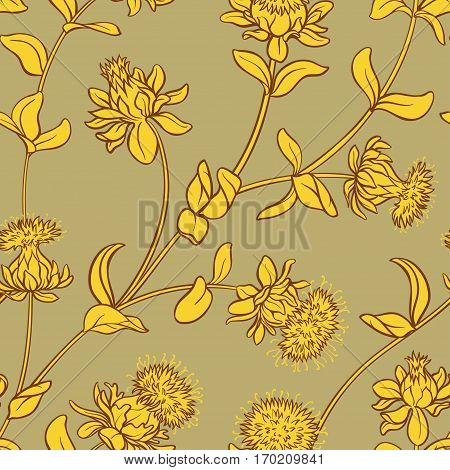safflower vector seamless pattern on color background