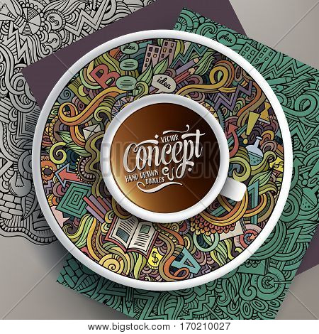 Vector illustration with a cup of coffee and hand drawn Idea doodles on a saucer, on paper and on the background