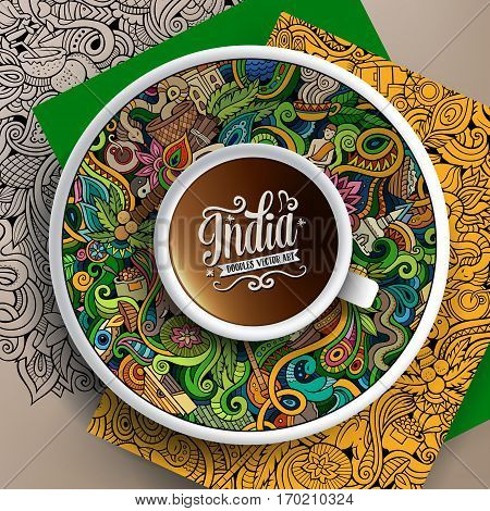 Vector illustration with a cup of coffee and hand drawn India doodles on a saucer, on paper and on the background
