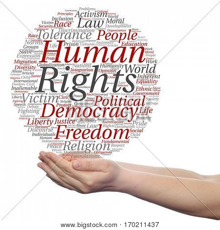 Concept or conceptual human rights political freedom or democracy circle word cloud in hand isolated on background metaphor to humanity world tolerance, law principles, people justice discrimination