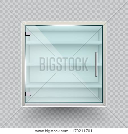 Empty glass cabinet on transparent background .