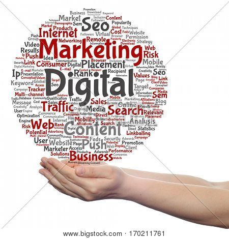 Concept or conceptual digital marketing seo or traffic circle word cloud in hand isolated on background metaphor to business, market, content, search, web, push, placement, communication technology