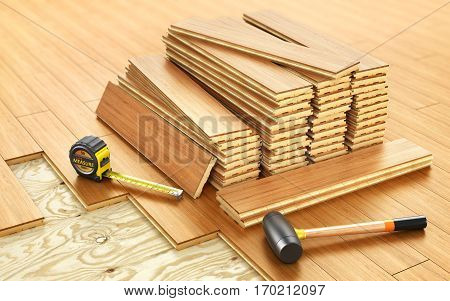 Stack of parquet. Timberwork lumber work and woodwork industry concept: stacks of wooden timber planks on the wooden floor. 3d illustration poster