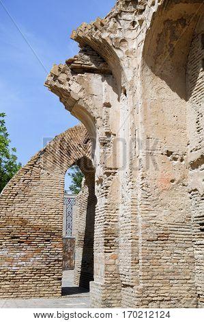 Ruined wall of Gur-e-Amir mausoleum, Samarkand, Uzbekistan