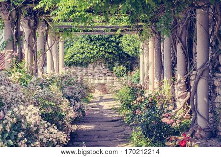 Old romantic tranquil vintage garden with columns