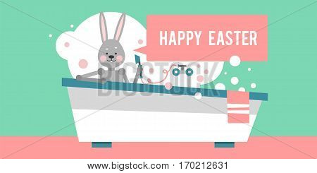 Happy Easter. Cartoon rabbit sitting in the bathroom. Template for holiday cards. Vector illustration.