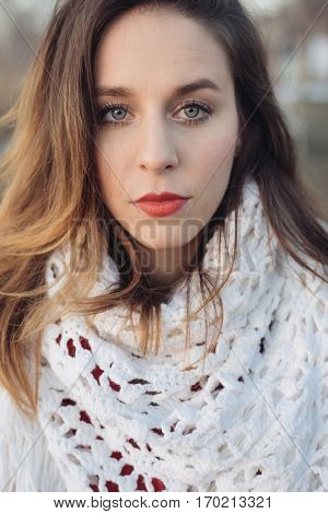Art portrait of a beautiful girl. gorgeous brunette girl, portrait outdoor. Portrait of young pretty beautiful woman with long dark curly hair.