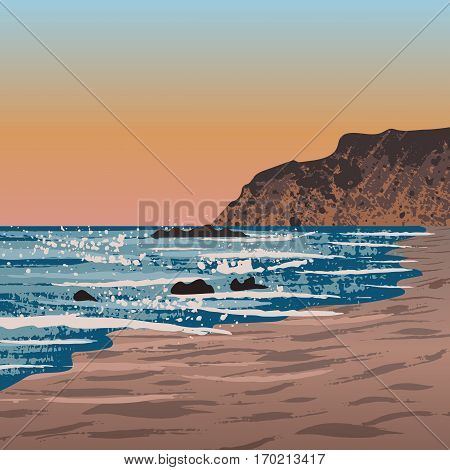 Illustration of Newport beach in Crystal Cove, USA