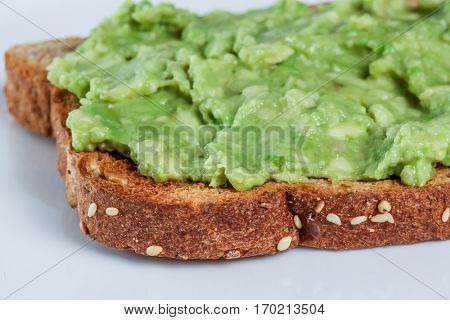 Toast with avocado spread detail