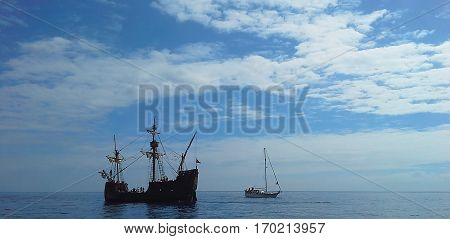 A beautiful sailboat in the open ocean. Atlantic Ocean Madeira Portugal