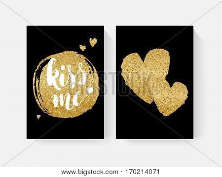 Valentine's day cards with hand lettring and gold glitter details. Vector illustration.