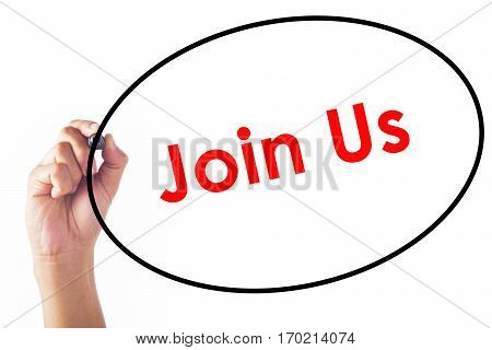 Businessman Writing Join Us Word With Pen
