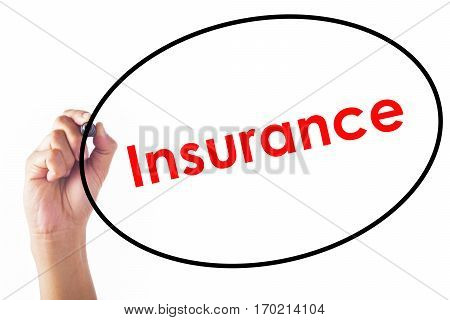 Businessman hand writing Insurance word with pen