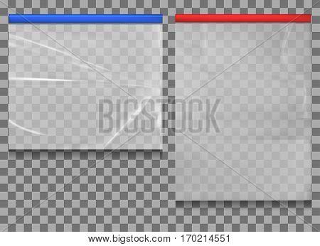 Empty Transparent Plastic Pocket Bags . vector illustration.