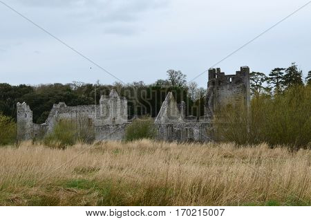 Castle ruins in the countryside of Ireland.