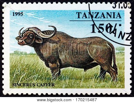 TANZANIA - CIRCA 1995: a stamp printed in Tanzania shows African buffalo syncerus caffer is a large African bovine circa 1995