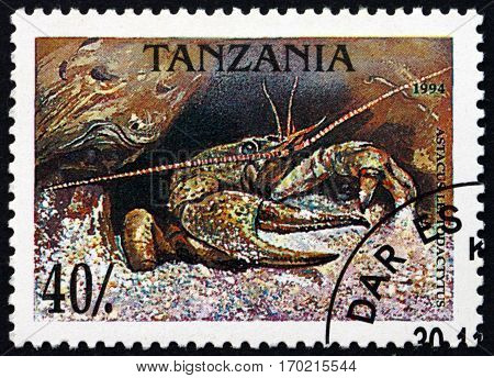 TANZANIA - CIRCA 1994: a stamp printed in Tanzania shows Narrow-clawed crayfish astacus leptodactylus circa 1994