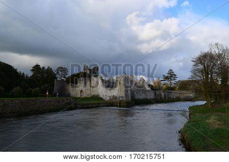 Desmond castle ruins along the river maigue in Ireland.