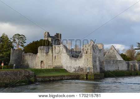 Desmond castle ruins in the sunshine in Ireland.