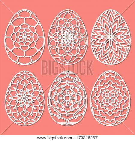 Set Of Vector Stencil Lacy Easter Egg With Carved Openwork Pattern. Template For Interior Design, La