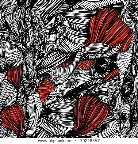 Vector Seamless Wave Hand Drawn Pattern. Can Be Used For Wallpaper, Pattern Fills, Print And Cloth,