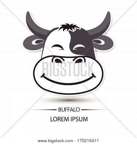 Buffalo Face Beatific Smile Logo And White Background Vector