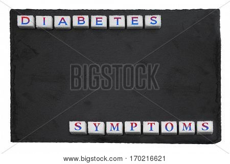 Treatment of diabetes. Conceptual poster prevention of diabetes in the background with sugar cubes
