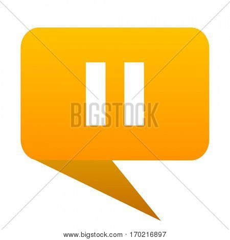 pause orange bulb web icon isolated.