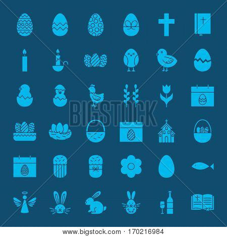 Easter Glyphs Website Icons. Vector Set of Spring Holiday Symbols.