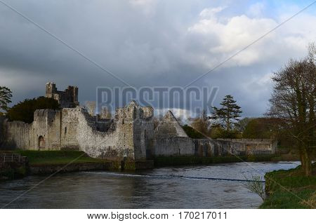 Desmond castle ruins along the river maigue in County Limerick Ireland.