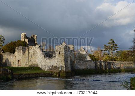 Desmond castle ruins along the maigue river in Ireland.