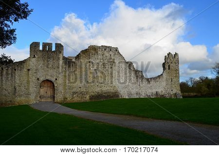 Outer castle walls of Desmond Castle in Ireland.