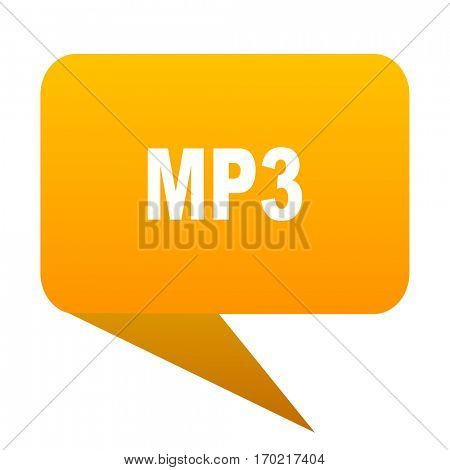 mp3 orange bulb web icon isolated.