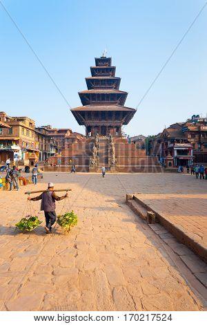 Bhaktapur Taumadhi Sq Nyatapola Pagoda Centered V