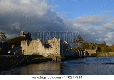 Ruins of Desmond castle along maigue river in County Limerick.